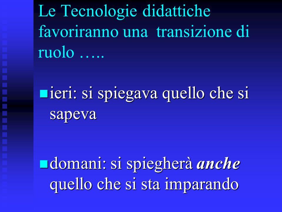 Le Tecnologie didattiche favoriranno una transizione di ruolo ….. ieri: si spiegava quello che si sapeva ieri: si spiegava quello che si sapeva domani