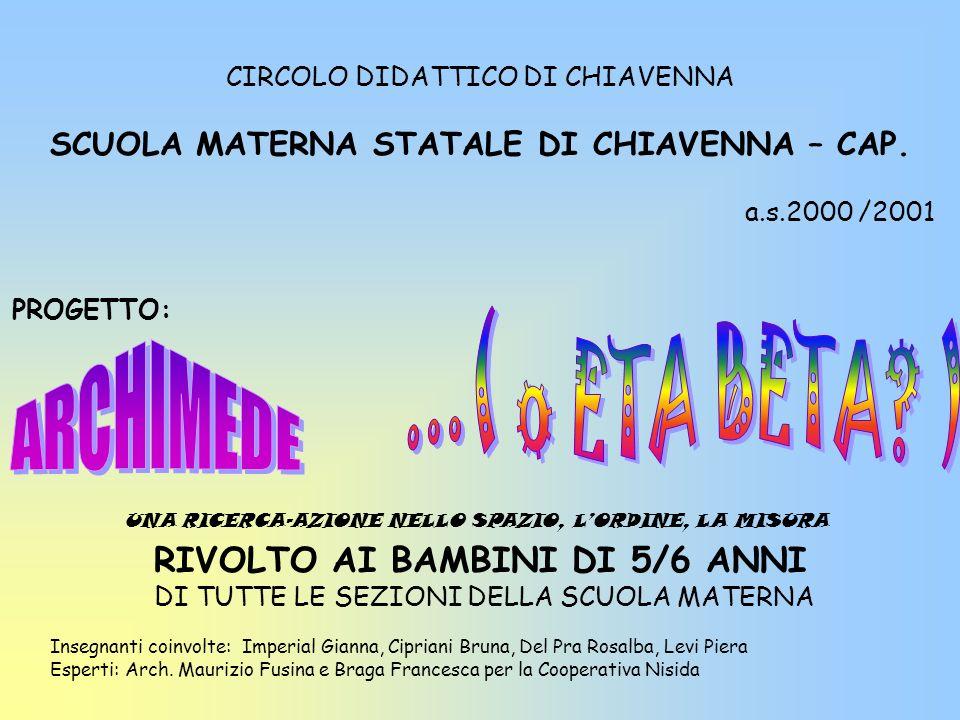 CIRCOLO DIDATTICO DI CHIAVENNA SCUOLA MATERNA STATALE DI CHIAVENNA – CAP. a.s.2000 /2001 PROGETTO: RIVOLTO AI BAMBINI DI 5/6 ANNI DI TUTTE LE SEZIONI