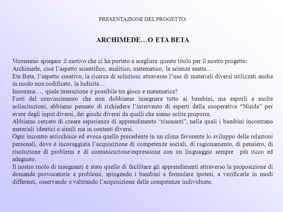 PRESENTAZIONE DEL PROGETTO: ARCHIMEDE…O ETA BETA Vorremmo spiegare il motivo che ci ha portato a scegliere questo titolo per il nostro progetto: Archi