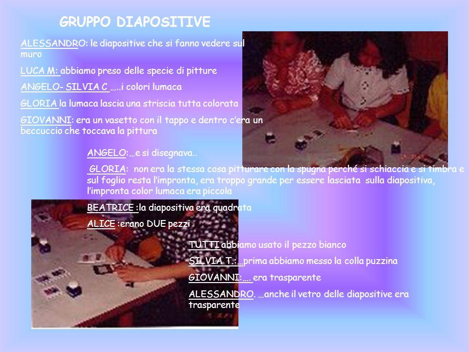 GRUPPO DIAPOSITIVE ALESSANDRO: le diapositive che si fanno vedere sul muro LUCA M: abbiamo preso delle specie di pitture ANGELO- SILVIA C …..i colori