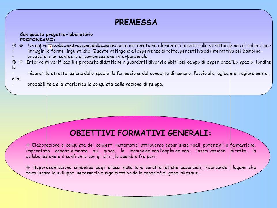 PREMESSA OBIETTIVI FORMATIVI GENERALI: Elaborazione e conquista dei concetti matematici attraverso esperienze reali, potenziali e fantastiche, impront