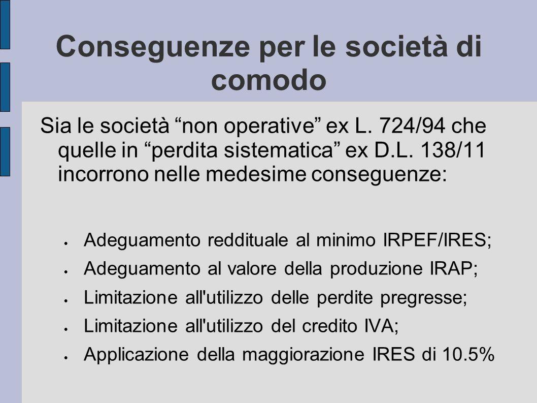 Conseguenze per le società di comodo Sia le società non operative ex L. 724/94 che quelle in perdita sistematica ex D.L. 138/11 incorrono nelle medesi