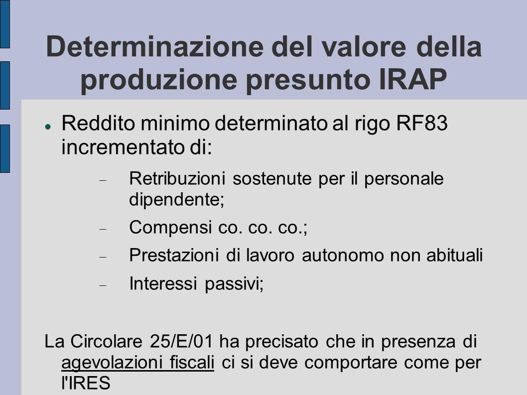 Determinazione del valore della produzione presunto IRAP Reddito minimo determinato al rigo RF83 incrementato di: Retribuzioni sostenute per il person