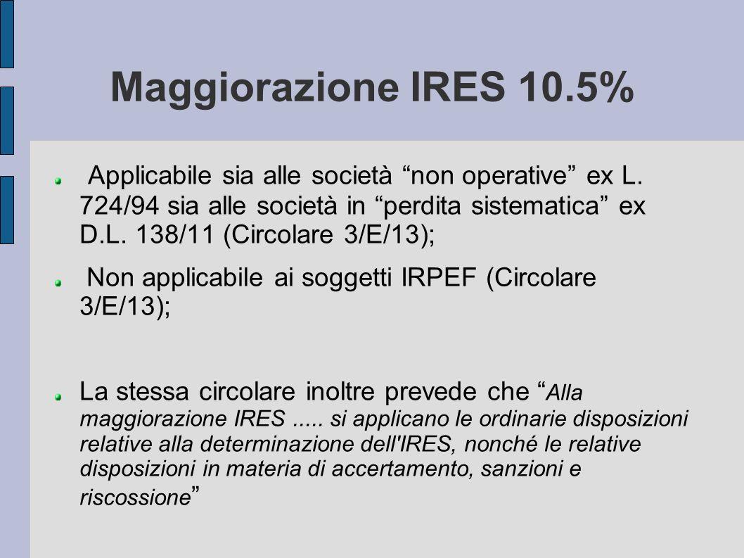 Maggiorazione IRES 10.5% Applicabile sia alle società non operative ex L. 724/94 sia alle società in perdita sistematica ex D.L. 138/11 (Circolare 3/E