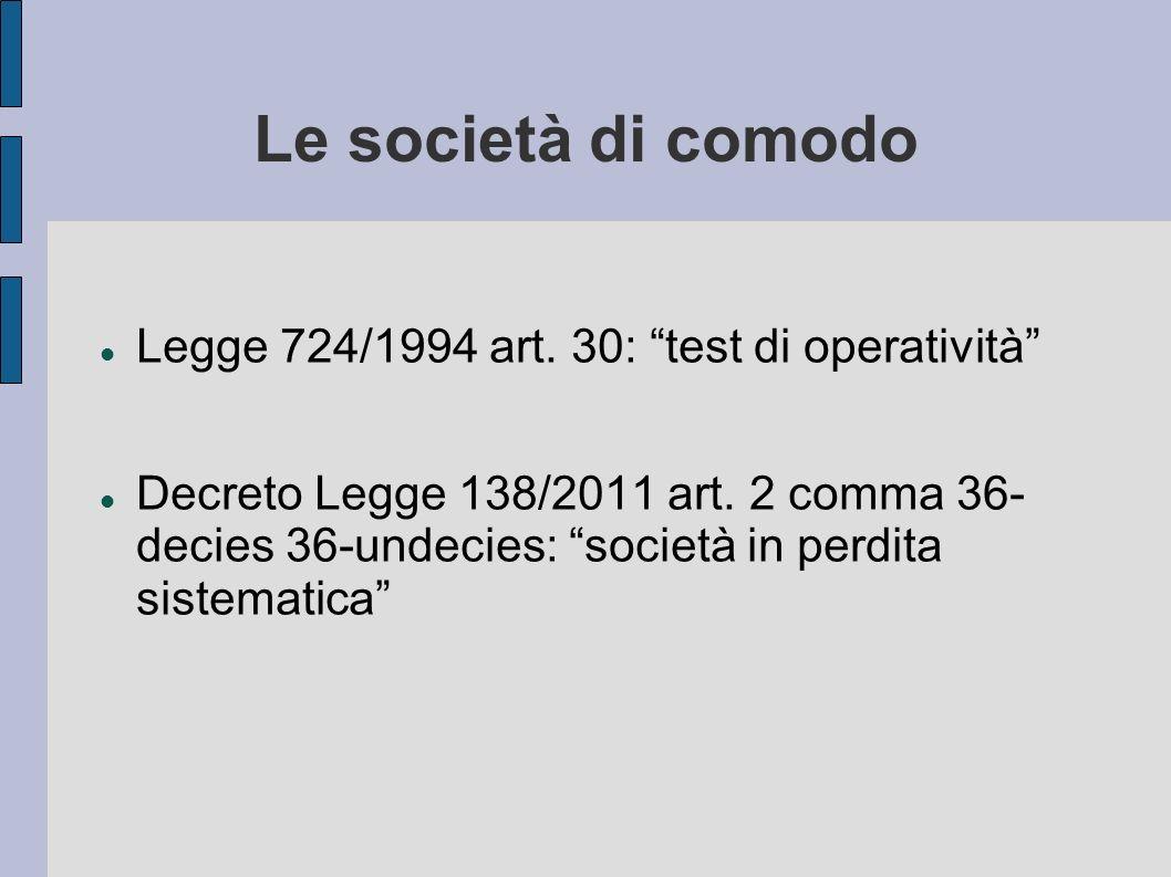 Le società di comodo Legge 724/1994 art. 30: test di operatività Decreto Legge 138/2011 art. 2 comma 36- decies 36-undecies: società in perdita sistem