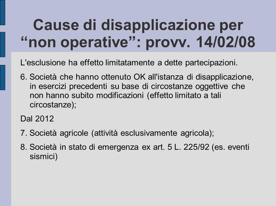 Cause di disapplicazione per non operative: provv. 14/02/08 L'esclusione ha effetto limitatamente a dette partecipazioni. 6. Società che hanno ottenut