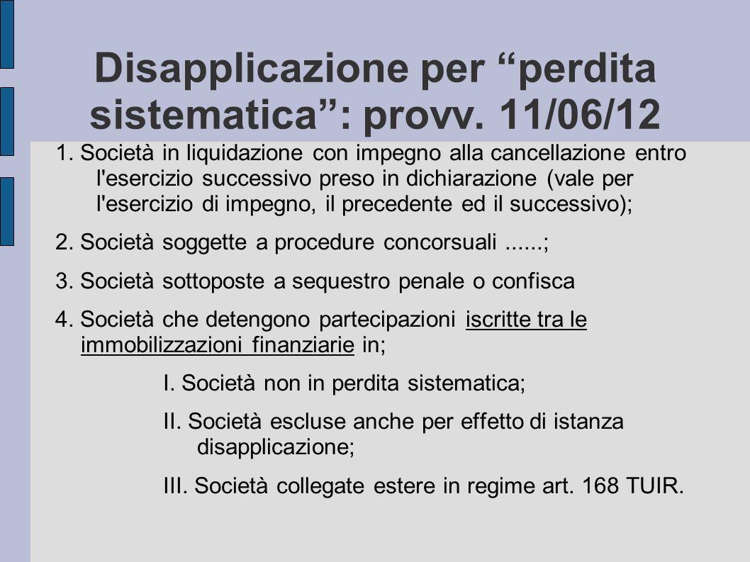 Disapplicazione per perdita sistematica: provv. 11/06/12 1. Società in liquidazione con impegno alla cancellazione entro l'esercizio successivo preso