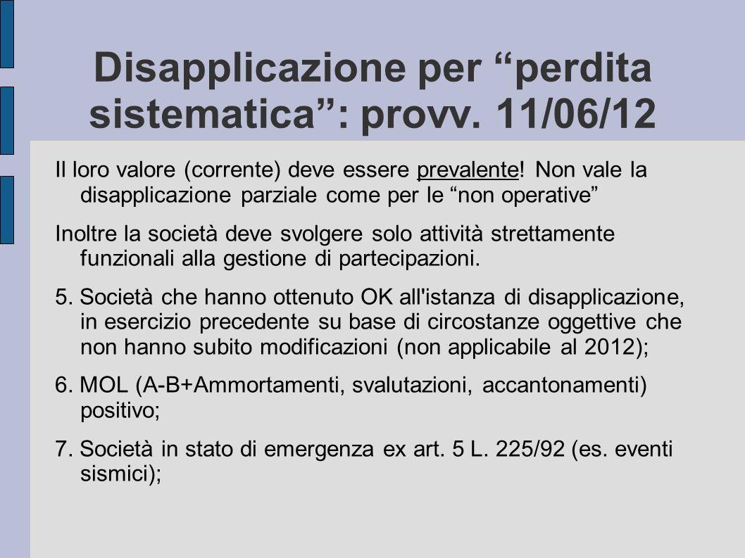 Disapplicazione per perdita sistematica: provv. 11/06/12 Il loro valore (corrente) deve essere prevalente! Non vale la disapplicazione parziale come p