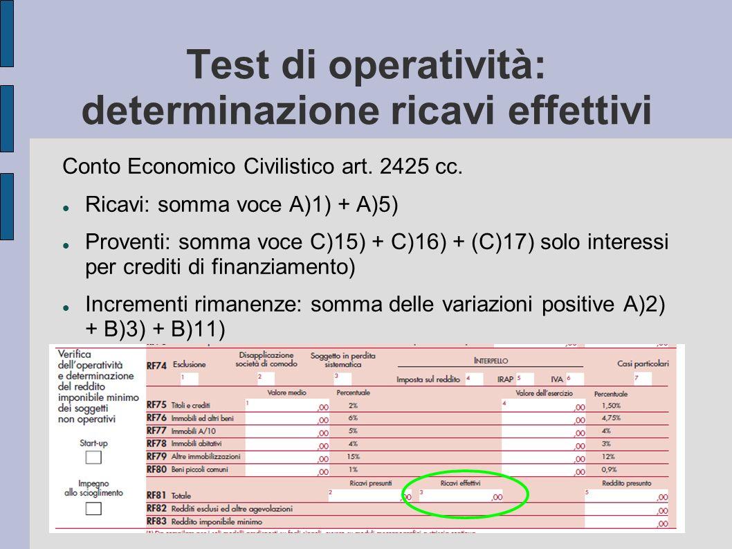 Test di operatività: determinazione ricavi effettivi Conto Economico Civilistico art. 2425 cc. Ricavi: somma voce A)1) + A)5) Proventi: somma voce C)1