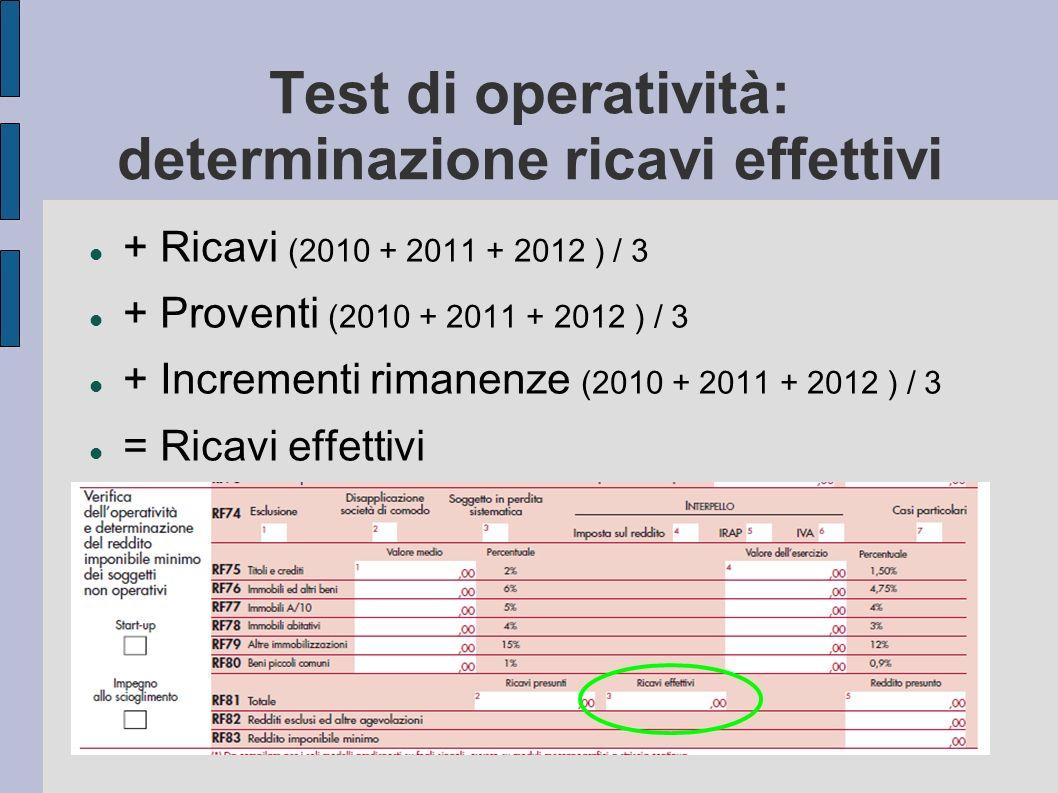 Test di operatività: determinazione ricavi effettivi + Ricavi (2010 + 2011 + 2012 ) / 3 + Proventi (2010 + 2011 + 2012 ) / 3 + Incrementi rimanenze (2