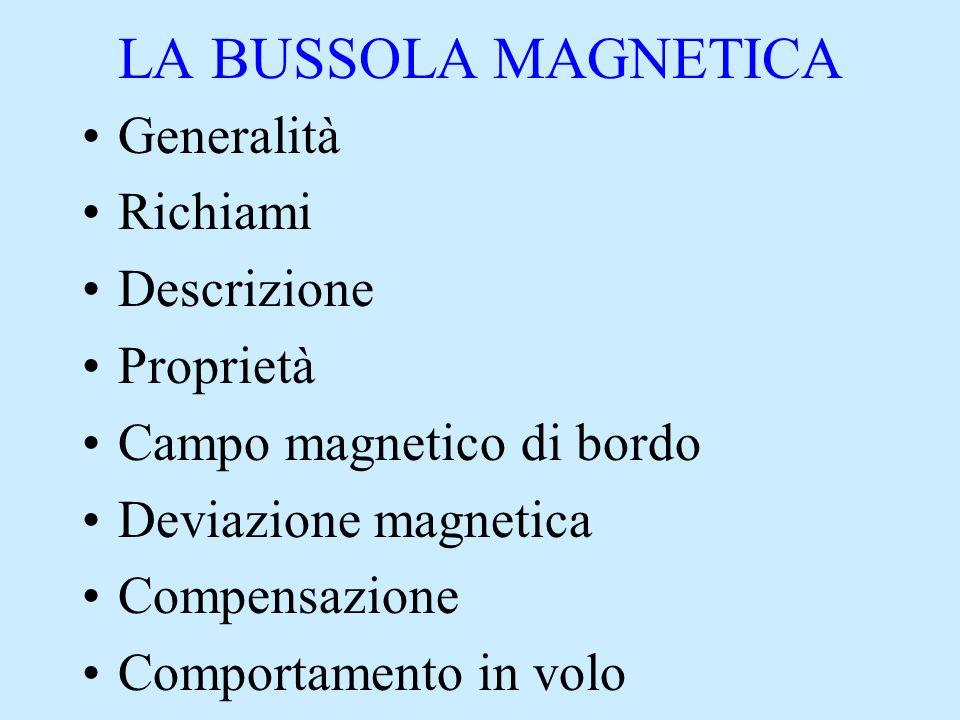 LA BUSSOLA MAGNETICA Generalità Richiami Descrizione Proprietà Campo magnetico di bordo Deviazione magnetica Compensazione Comportamento in volo