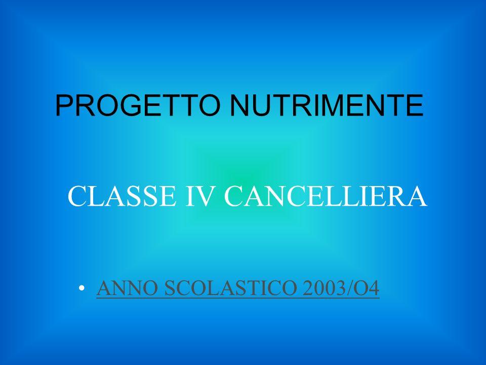 PROGETTO NUTRIMENTE CLASSE IV CANCELLIERA ANNO SCOLASTICO 2003/O4