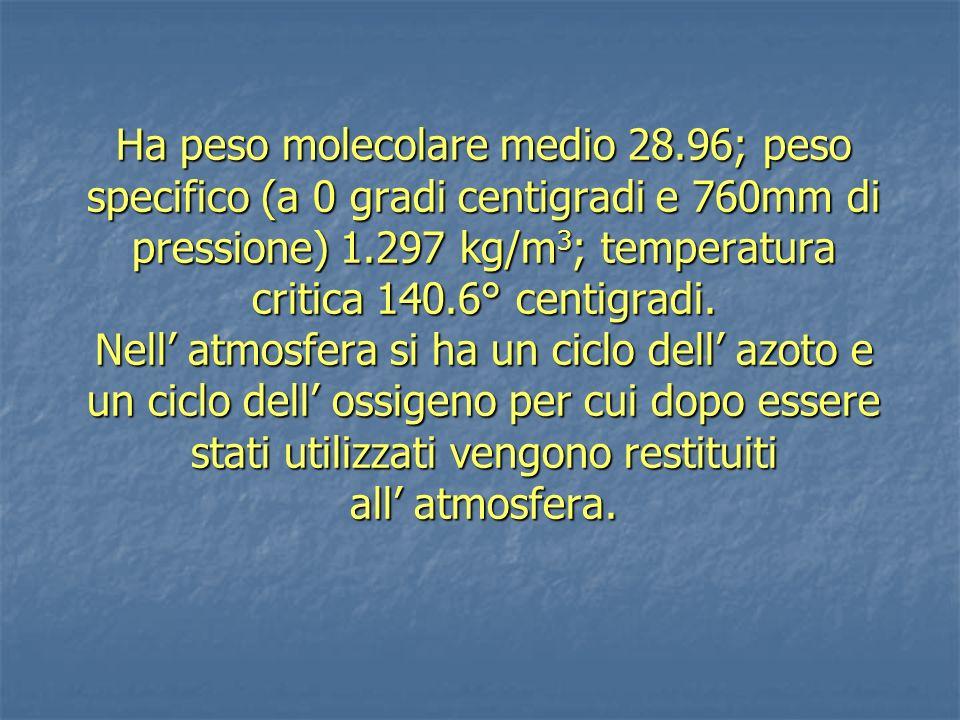 La composizione dell aria non è costante alle varie altezze.