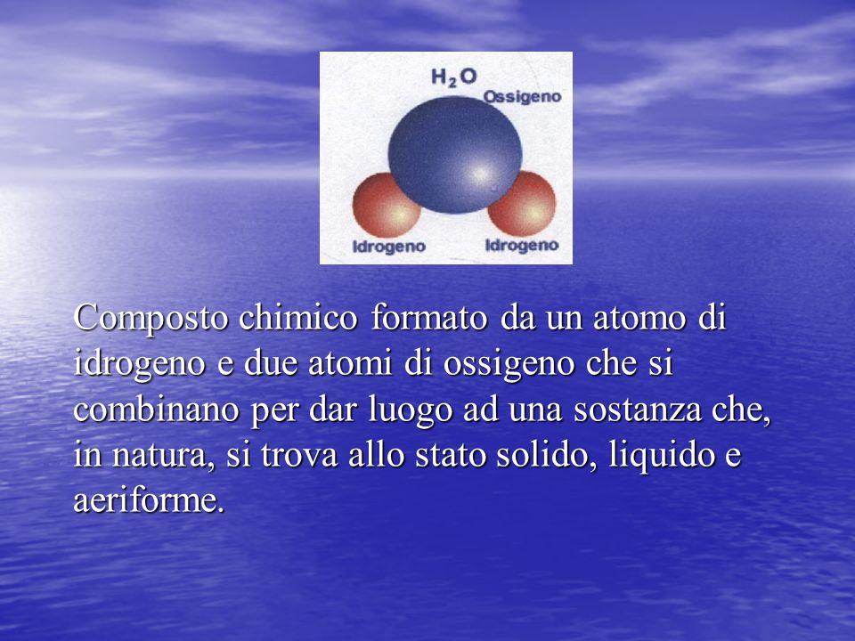 Composto chimico formato da un atomo di idrogeno e due atomi di ossigeno che si combinano per dar luogo ad una sostanza che, in natura, si trova allo stato solido, liquido e aeriforme.