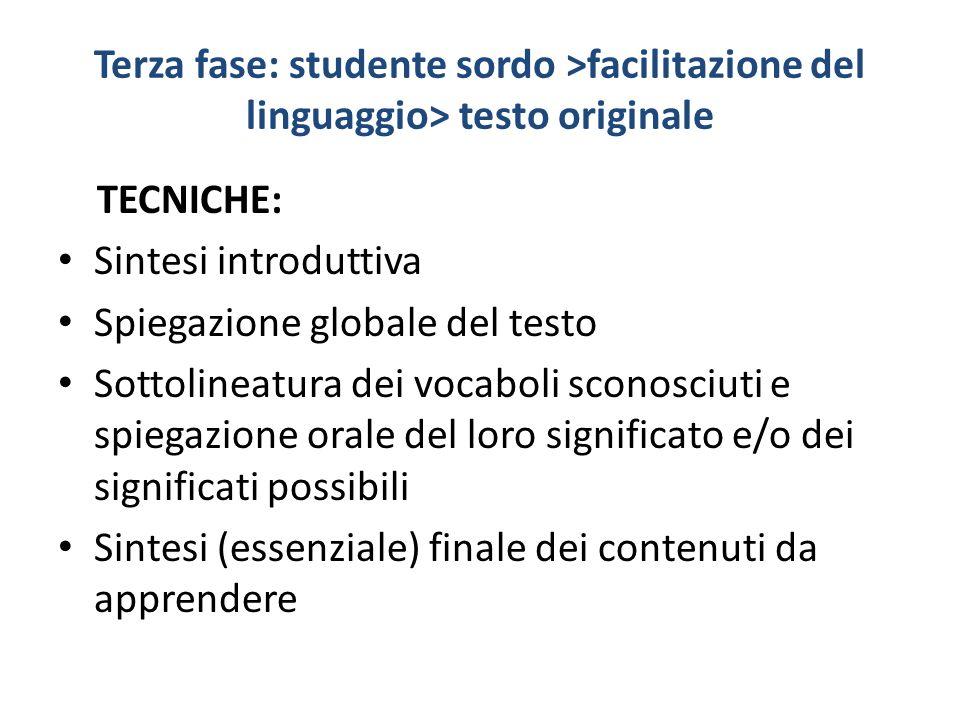 Terza fase: studente sordo >facilitazione del linguaggio> testo originale TECNICHE: Sintesi introduttiva Spiegazione globale del testo Sottolineatura