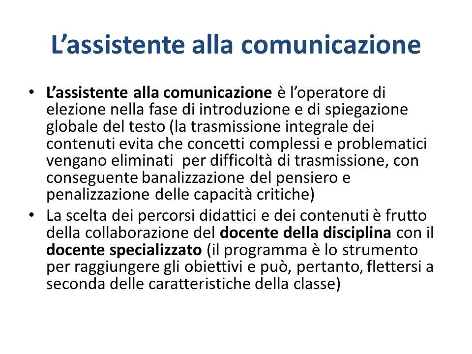 Lassistente alla comunicazione Lassistente alla comunicazione è loperatore di elezione nella fase di introduzione e di spiegazione globale del testo (