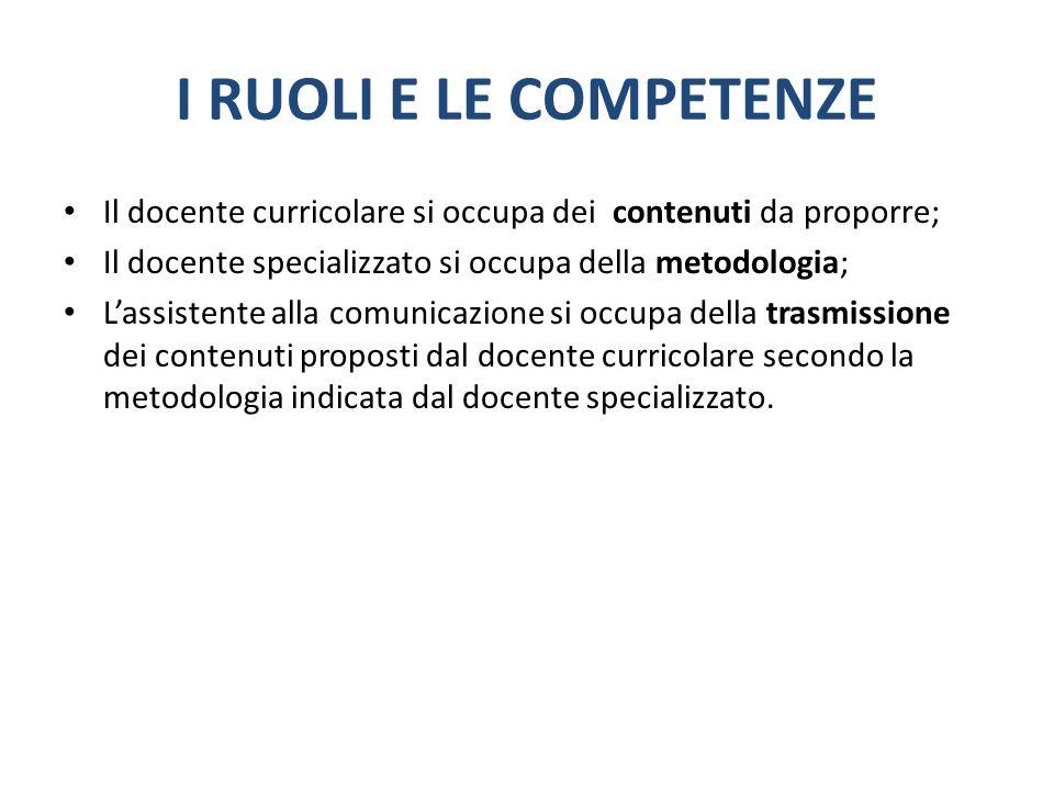 I RUOLI E LE COMPETENZE Il docente curricolare si occupa dei contenuti da proporre; Il docente specializzato si occupa della metodologia; Lassistente