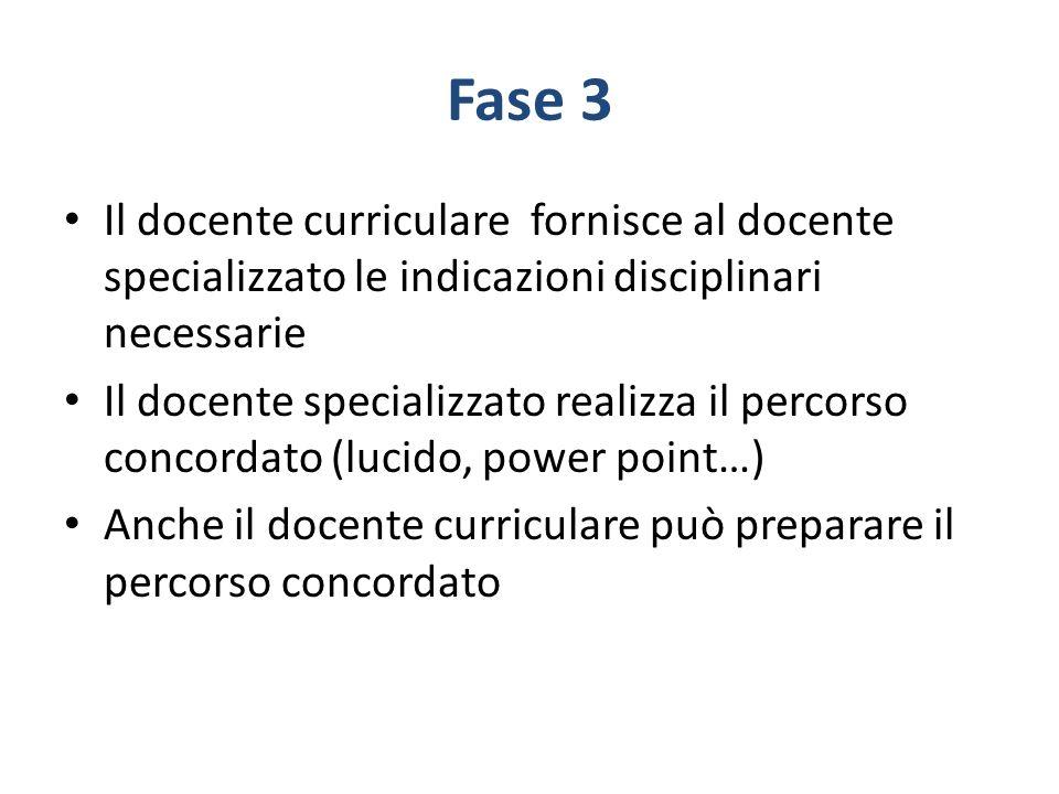 Fase 3 Il docente curriculare fornisce al docente specializzato le indicazioni disciplinari necessarie Il docente specializzato realizza il percorso c