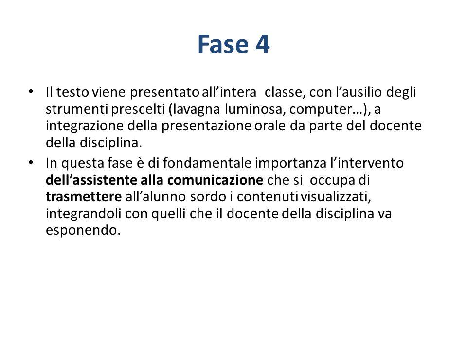 Fase 4 Il testo viene presentato allintera classe, con lausilio degli strumenti prescelti (lavagna luminosa, computer…), a integrazione della presenta