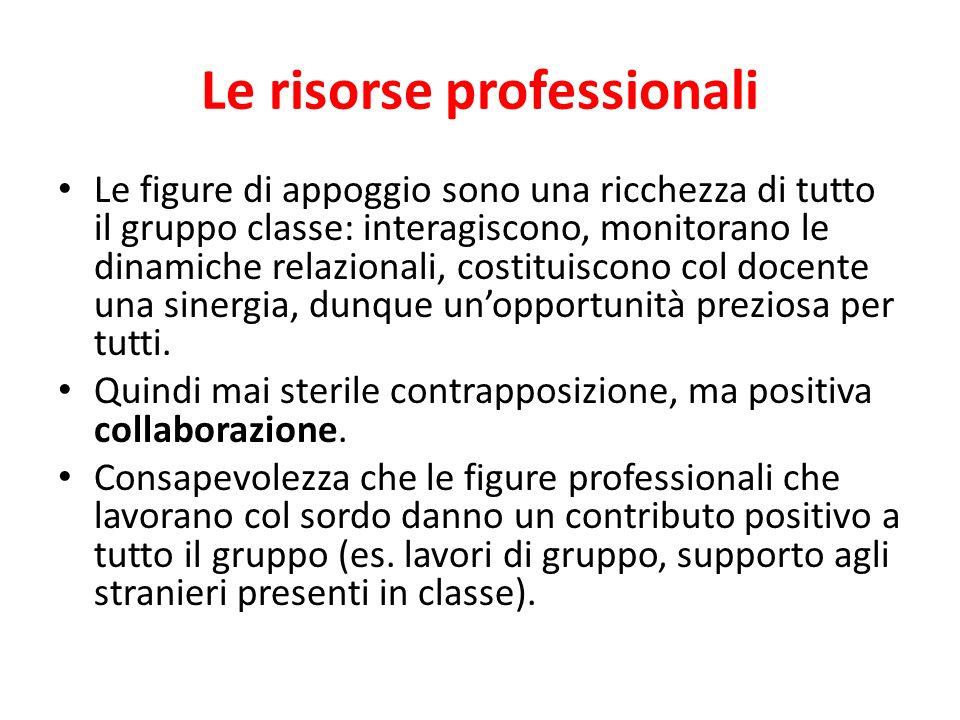 Le risorse professionali Le figure di appoggio sono una ricchezza di tutto il gruppo classe: interagiscono, monitorano le dinamiche relazionali, costi