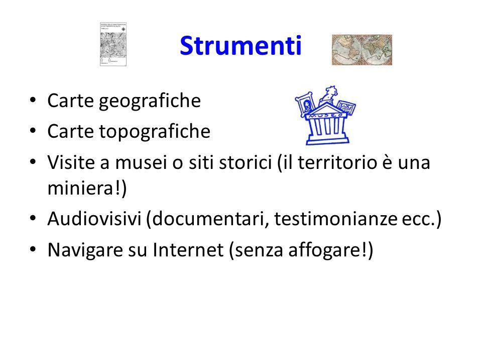 Strumenti Carte geografiche Carte topografiche Visite a musei o siti storici (il territorio è una miniera!) Audiovisivi (documentari, testimonianze ec