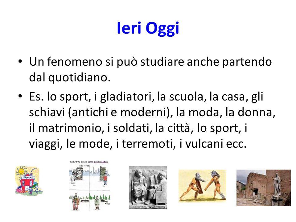 Ieri Oggi Un fenomeno si può studiare anche partendo dal quotidiano. Es. lo sport, i gladiatori, la scuola, la casa, gli schiavi (antichi e moderni),