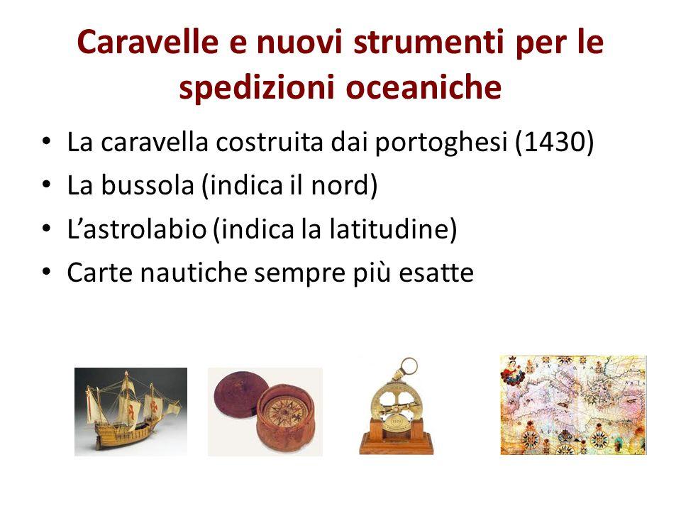 Caravelle e nuovi strumenti per le spedizioni oceaniche La caravella costruita dai portoghesi (1430) La bussola (indica il nord) Lastrolabio (indica l