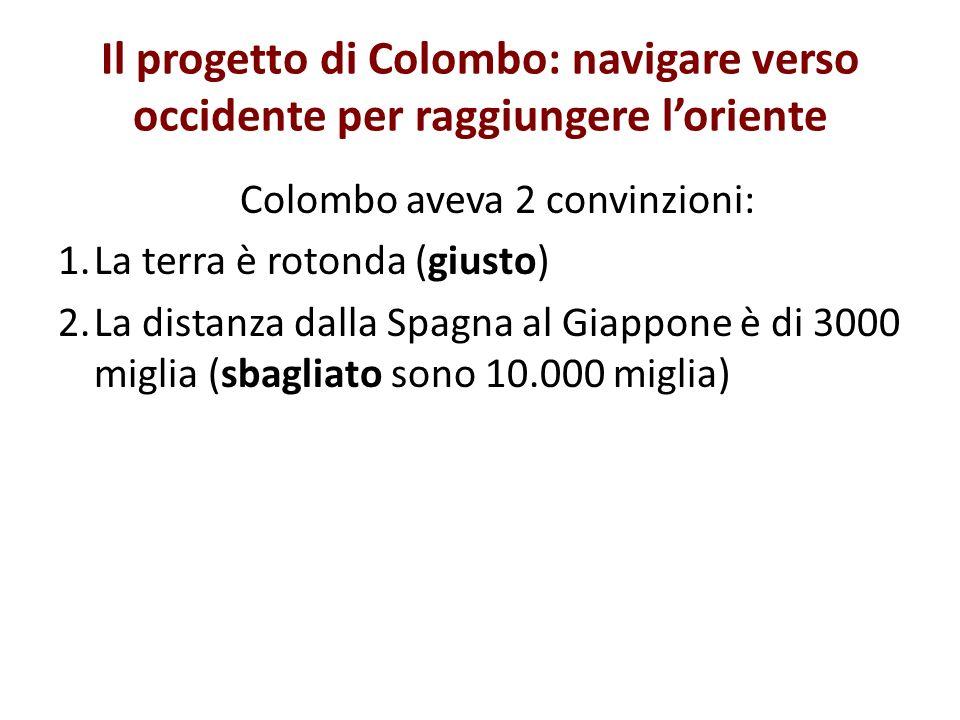 Colombo aveva 2 convinzioni: 1.La terra è rotonda (giusto) 2.La distanza dalla Spagna al Giappone è di 3000 miglia (sbagliato sono 10.000 miglia)