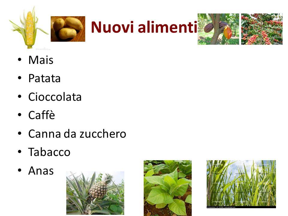 Nuovi alimenti Mais Patata Cioccolata Caffè Canna da zucchero Tabacco Anas