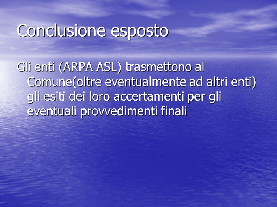Conclusione esposto Gli enti (ARPA ASL) trasmettono al Comune(oltre eventualmente ad altri enti) gli esiti dei loro accertamenti per gli eventuali pro