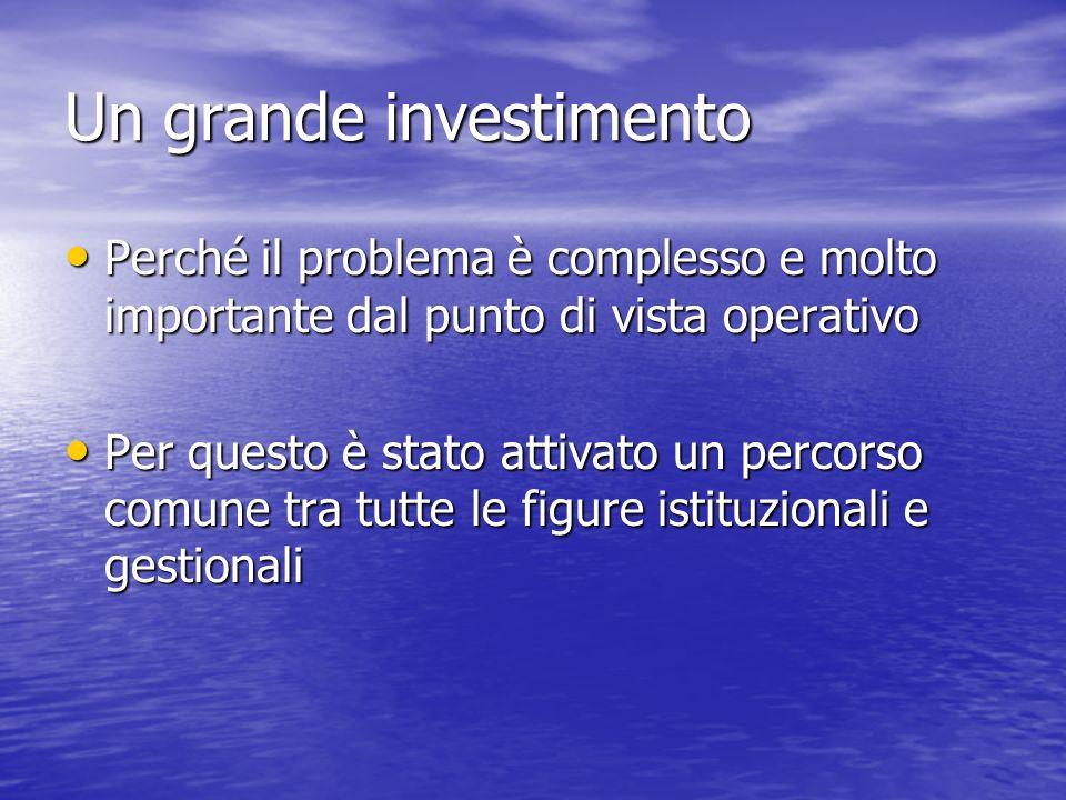 Un grande investimento Perché il problema è complesso e molto importante dal punto di vista operativo Perché il problema è complesso e molto important