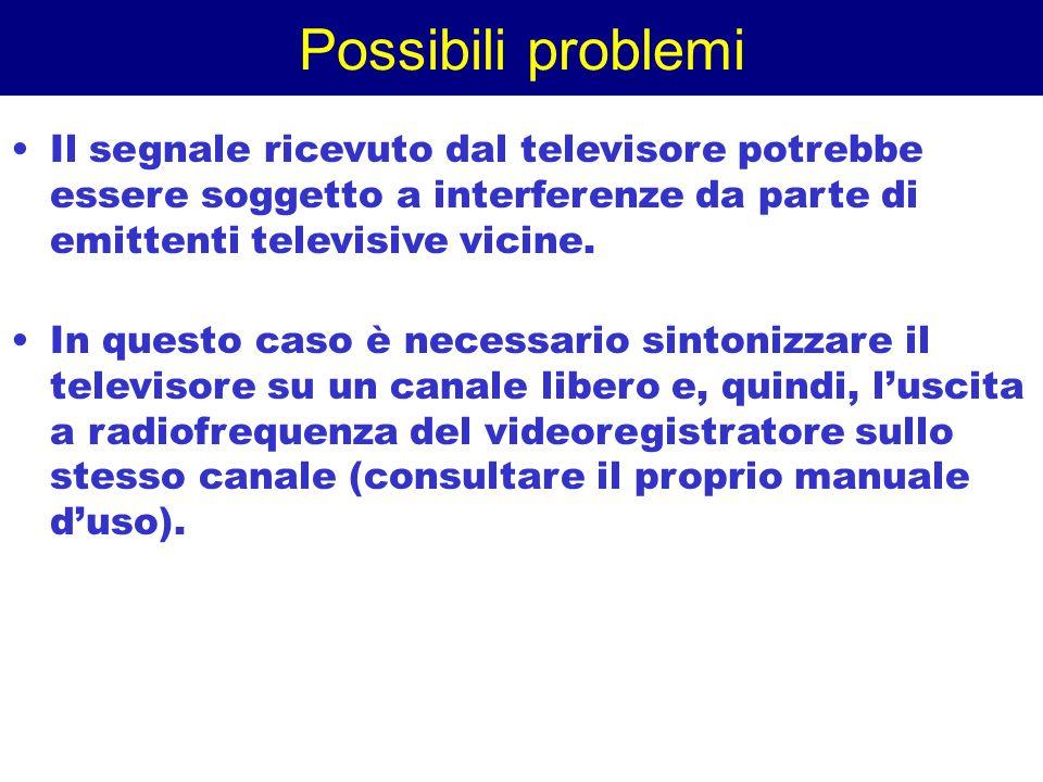 Possibili problemi Il segnale ricevuto dal televisore potrebbe essere soggetto a interferenze da parte di emittenti televisive vicine. In questo caso