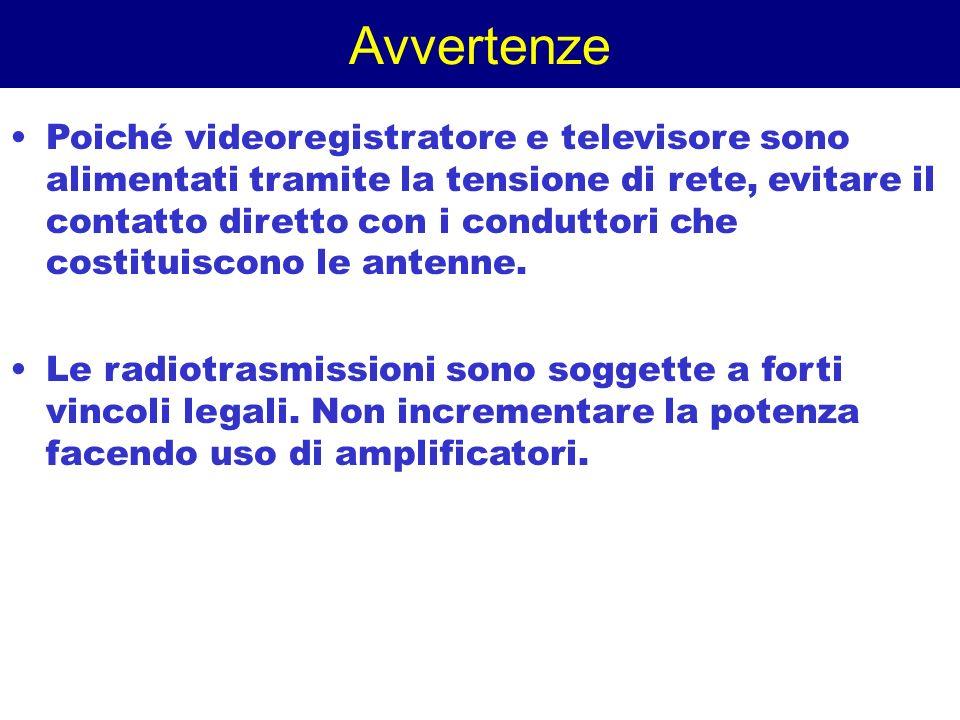 Avvertenze Poiché videoregistratore e televisore sono alimentati tramite la tensione di rete, evitare il contatto diretto con i conduttori che costitu