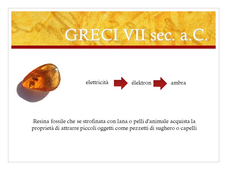 GRECI VII sec. a.C. Resina fossile che se strofinata con lana o pelli d'animale acquista la proprietà di attrarre piccoli oggetti come pezzetti di sug