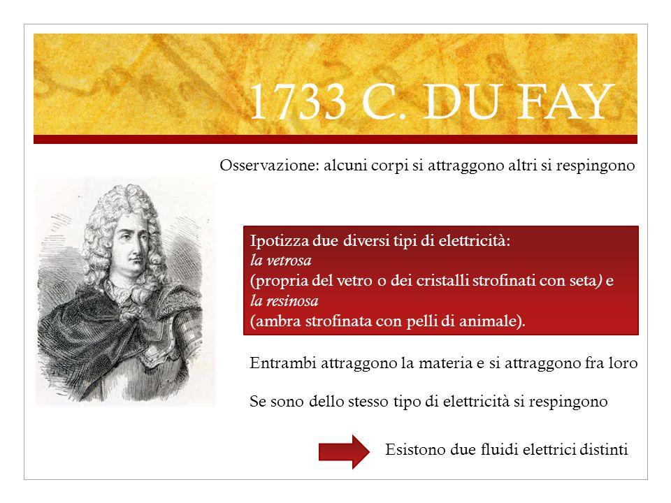 1733 C. DU FAY Ipotizza due diversi tipi di elettricità: la vetrosa (propria del vetro o dei cristalli strofinati con seta ) e la resinosa (ambra stro