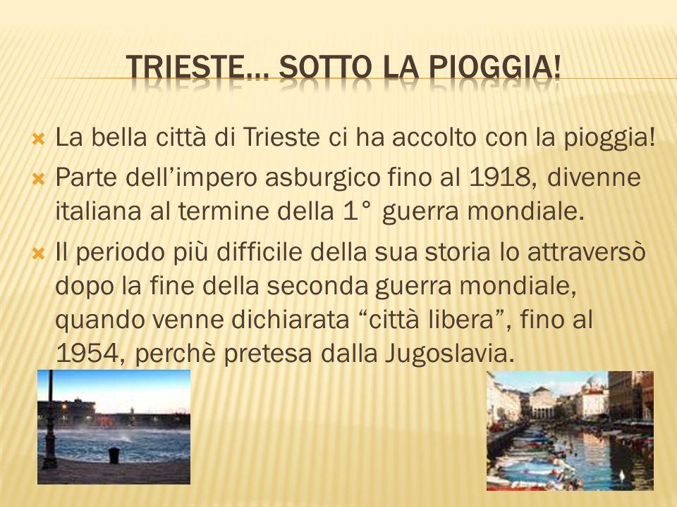 La bella città di Trieste ci ha accolto con la pioggia! Parte dellimpero asburgico fino al 1918, divenne italiana al termine della 1° guerra mondiale.
