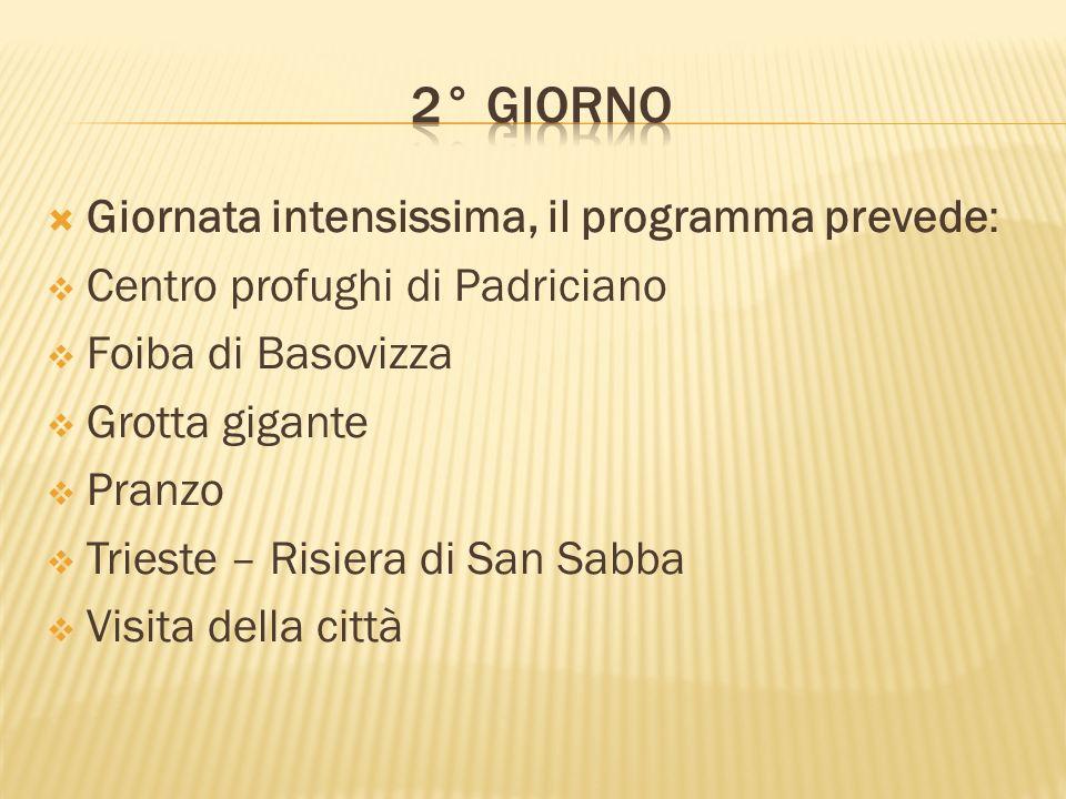 Giornata intensissima, il programma prevede: Centro profughi di Padriciano Foiba di Basovizza Grotta gigante Pranzo Trieste – Risiera di San Sabba Vis