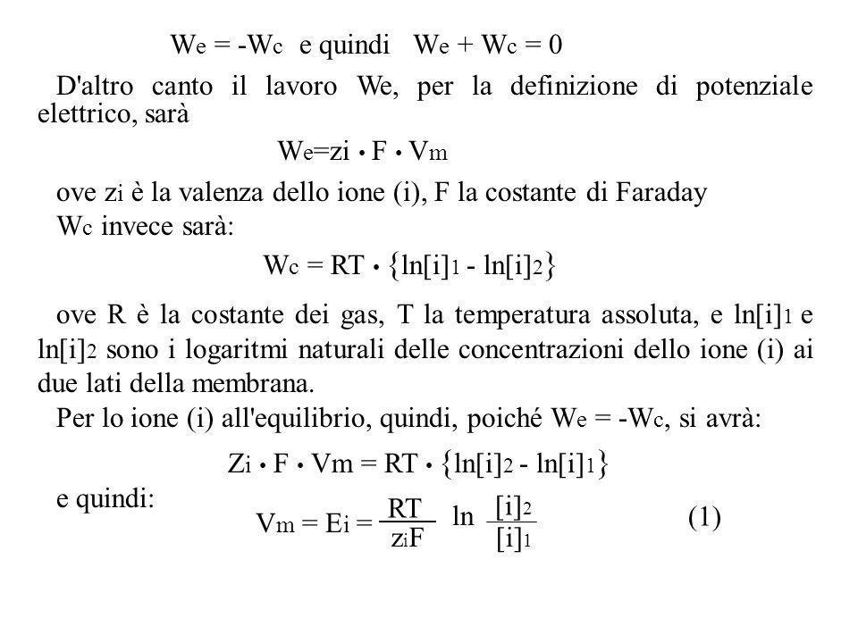 W e = -W c e quindi W e + W c = 0 D'altro canto il lavoro We, per la definizione di potenziale elettrico, sarà W e =zi F V m ove z i è la valenza dell