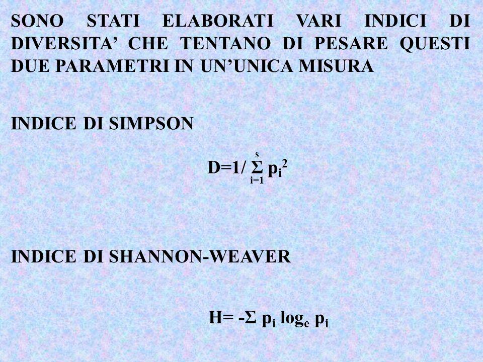 INDICE DI SIMPSON INDICE DI SHANNON-WEAVER D=1/ Σ p i 2 s i=1 H= -Σ p i log e p i SONO STATI ELABORATI VARI INDICI DI DIVERSITA CHE TENTANO DI PESARE