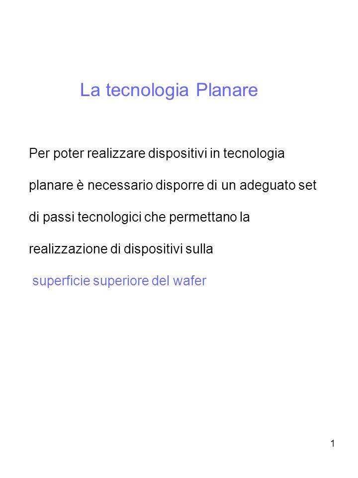 1 La tecnologia Planare Per poter realizzare dispositivi in tecnologia planare è necessario disporre di un adeguato set di passi tecnologici che perme