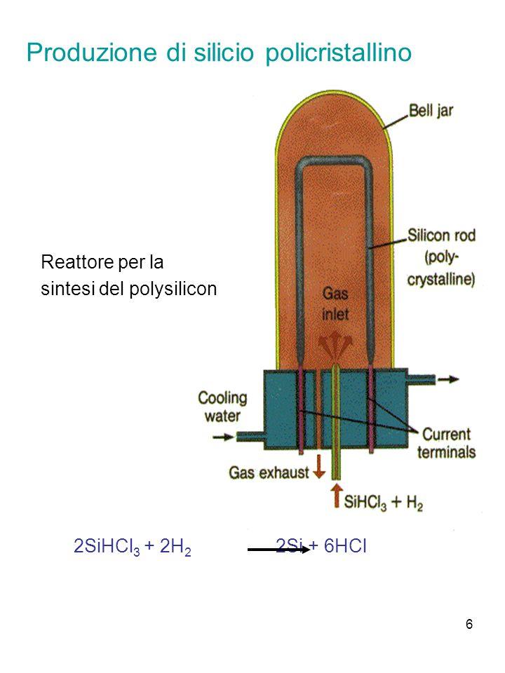 7 Crescita del cristallo monocristallo di Si privo di difetti di grande diametro (fino a 12) di purezza di 1 parte per miliardo (10 13 cm -3 impurezze su 5 10 22 cm -3 atomi di silicio) Tecniche: Metodo Czochralski Metodo float-zone (zona fusa mobile)