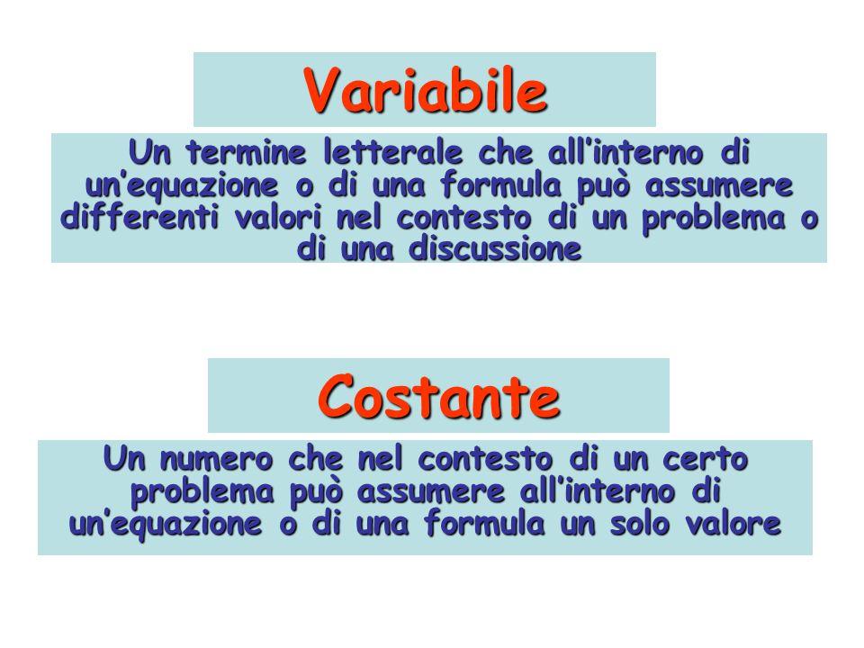 Variabile Un termine letterale che allinterno di unequazione o di una formula può assumere differenti valori nel contesto di un problema o di una disc
