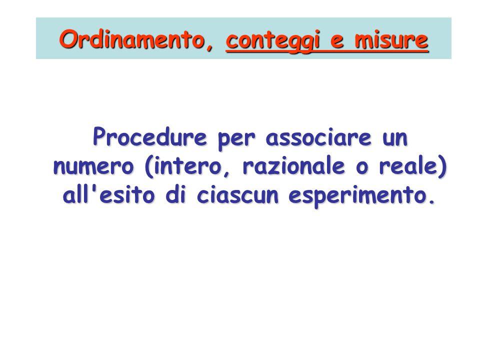 Procedure per associare un numero (intero, razionale o reale) all'esito di ciascun esperimento. Ordinamento, conteggi e misure