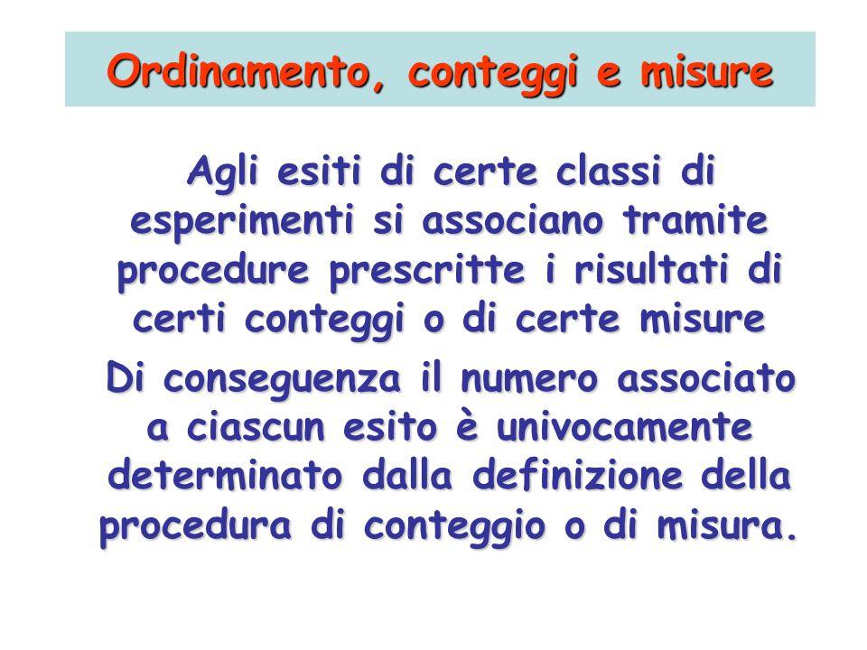 Agli esiti di certe classi di esperimenti si associano tramite procedure prescritte i risultati di certi conteggi o di certe misure Di conseguenza il