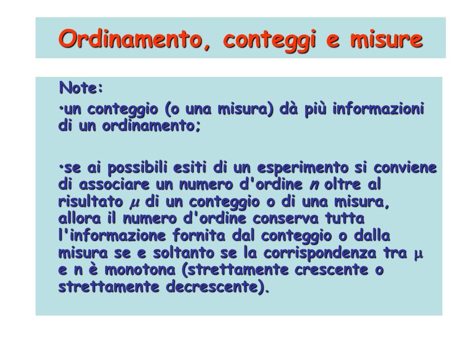 Note: un conteggio (o una misura) dà più informazioni di un ordinamento;un conteggio (o una misura) dà più informazioni di un ordinamento; se ai possi