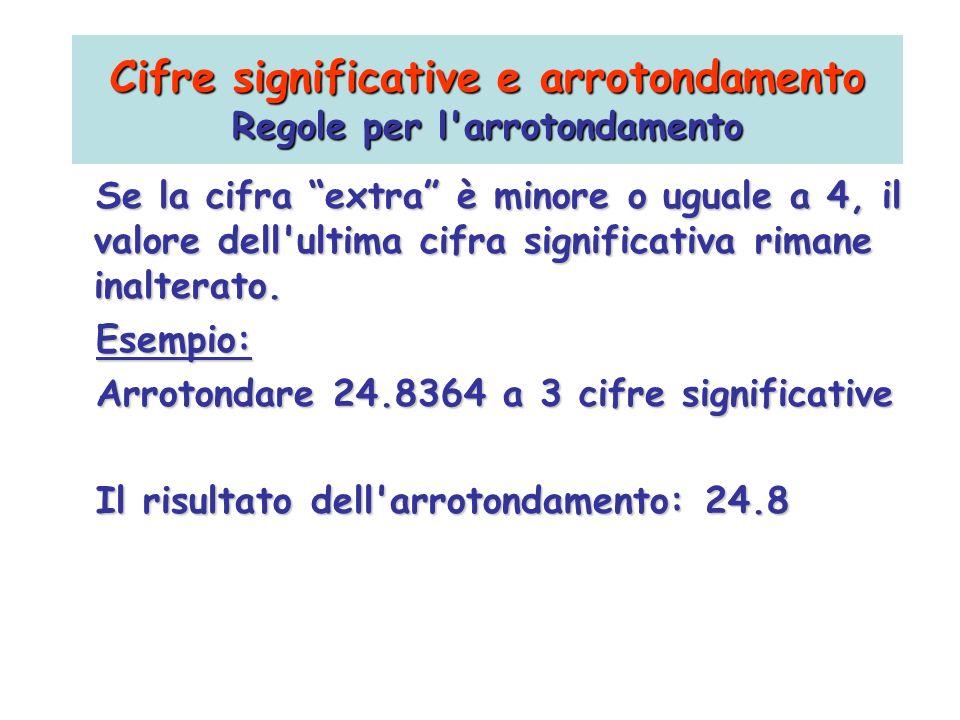 Se la cifra extra è minore o uguale a 4, il valore dell'ultima cifra significativa rimane inalterato. Esempio: Arrotondare 24.8364 a 3 cifre significa