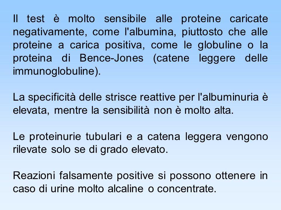 Il test è molto sensibile alle proteine caricate negativamente, come l'albumina, piuttosto che alle proteine a carica positiva, come le globuline o la