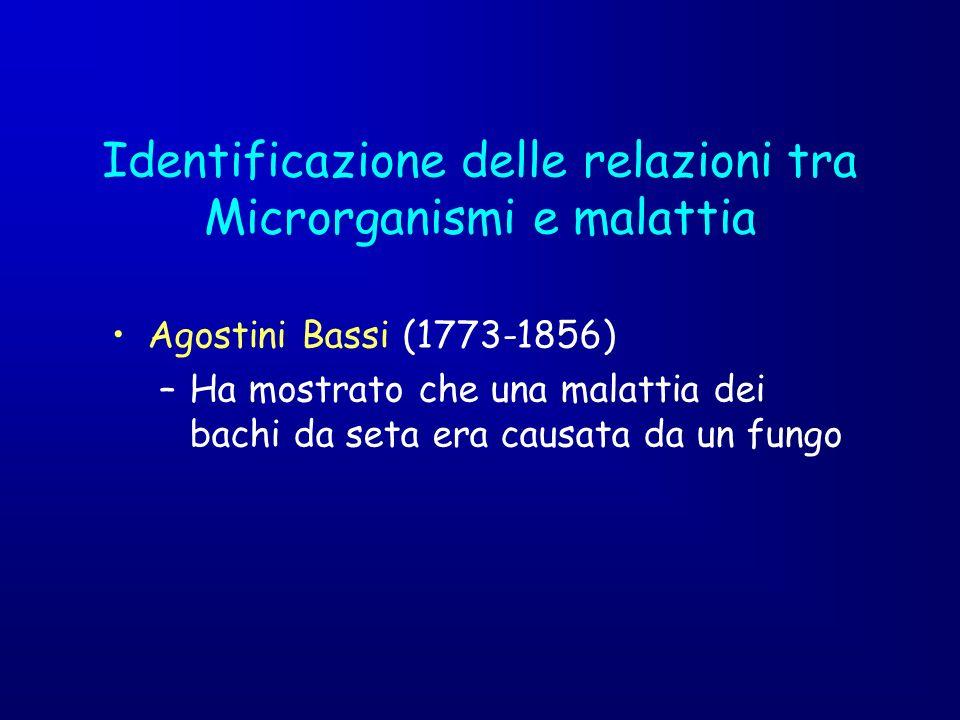 Identificazione delle relazioni tra Microrganismi e malattia Agostini Bassi (1773-1856) –Ha mostrato che una malattia dei bachi da seta era causata da