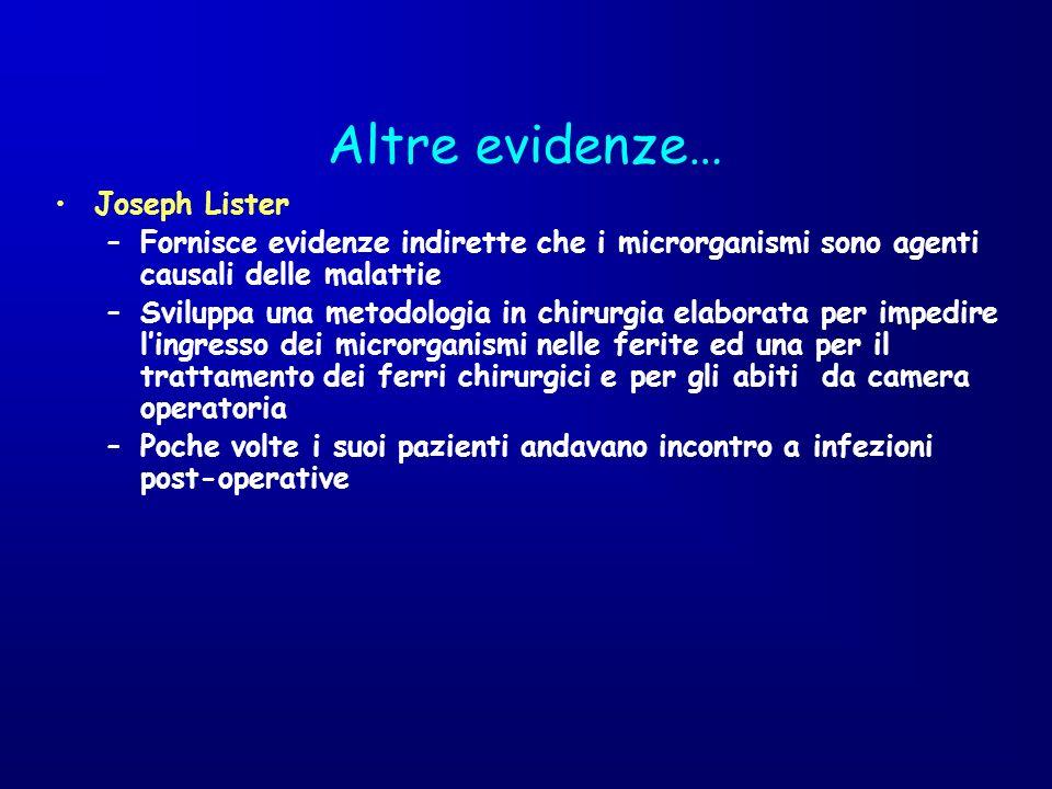 Altre evidenze… Joseph Lister –Fornisce evidenze indirette che i microrganismi sono agenti causali delle malattie –Sviluppa una metodologia in chirurg