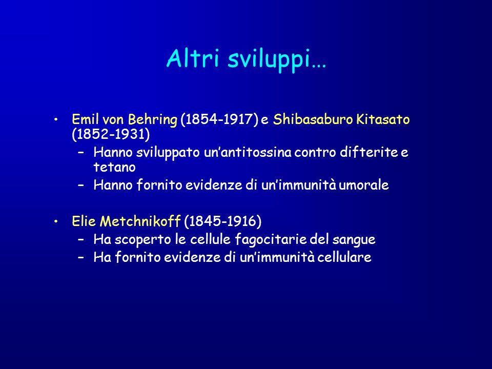 Altri sviluppi… Emil von Behring (1854-1917) e Shibasaburo Kitasato (1852-1931) –Hanno sviluppato unantitossina contro difterite e tetano –Hanno forni